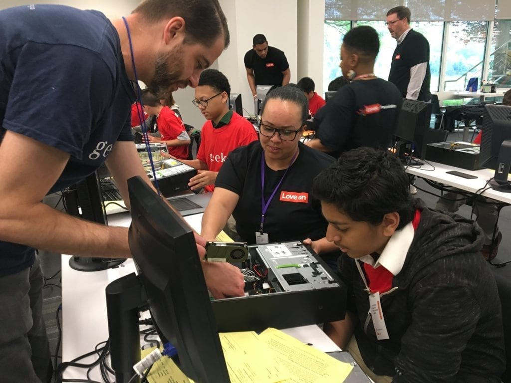 Lenovo partners with the Kramden Institute in North Carolina to refurbish PCs for families in need