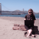 Erika Woolsey with ThinkPad workstation in San Francisco