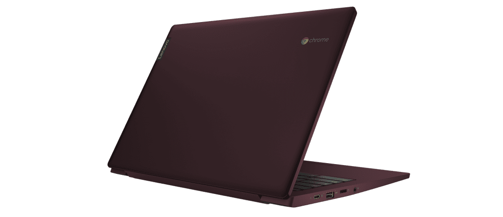 The new 14-inch Lenovo Chromebook S340 comes in your choice of Dark Orchid or Onyx Black.