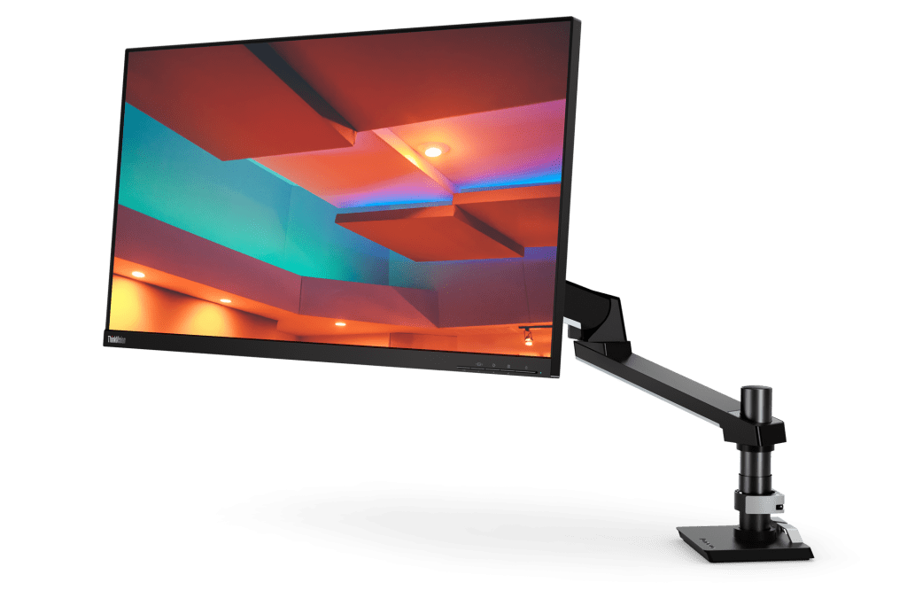 Easy-to-use, flexible VESA Mount arm/stand saves valuable desk surface space.