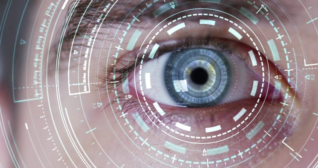 Data overlay on an eye being scanned.