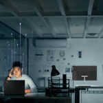 ThinkIoT for a safer workplace - person working in empty office
