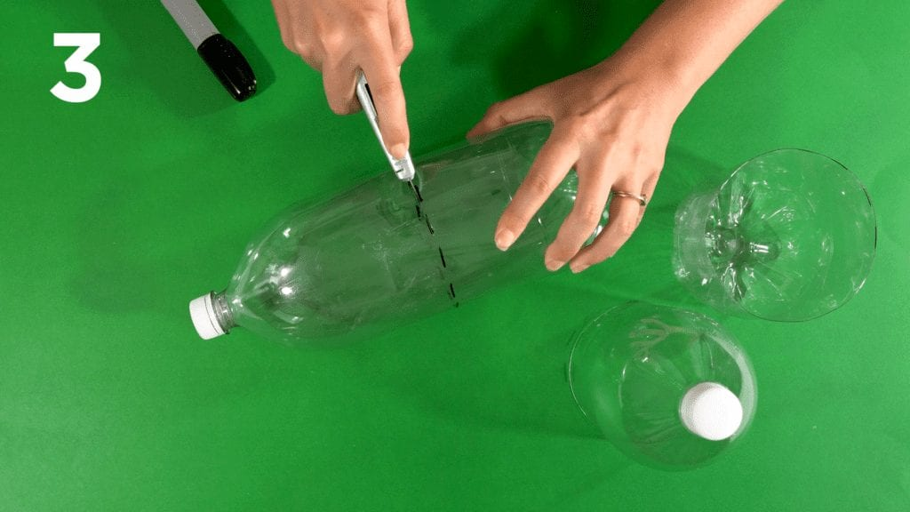 Mark your second soda bottle with a marker and cut with utility knife.