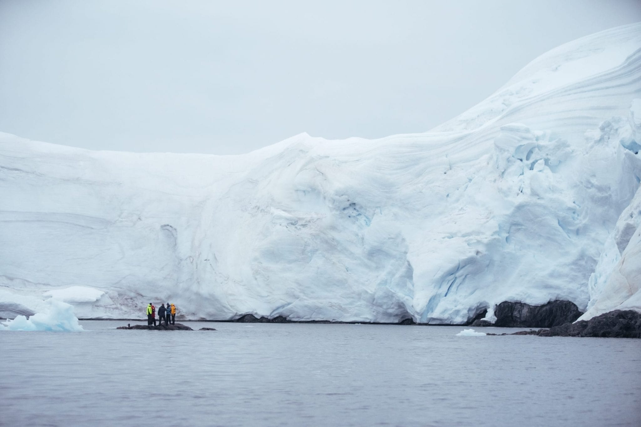 Research team on a small outcropping of land, looking up at the Antarctic ice sheet.