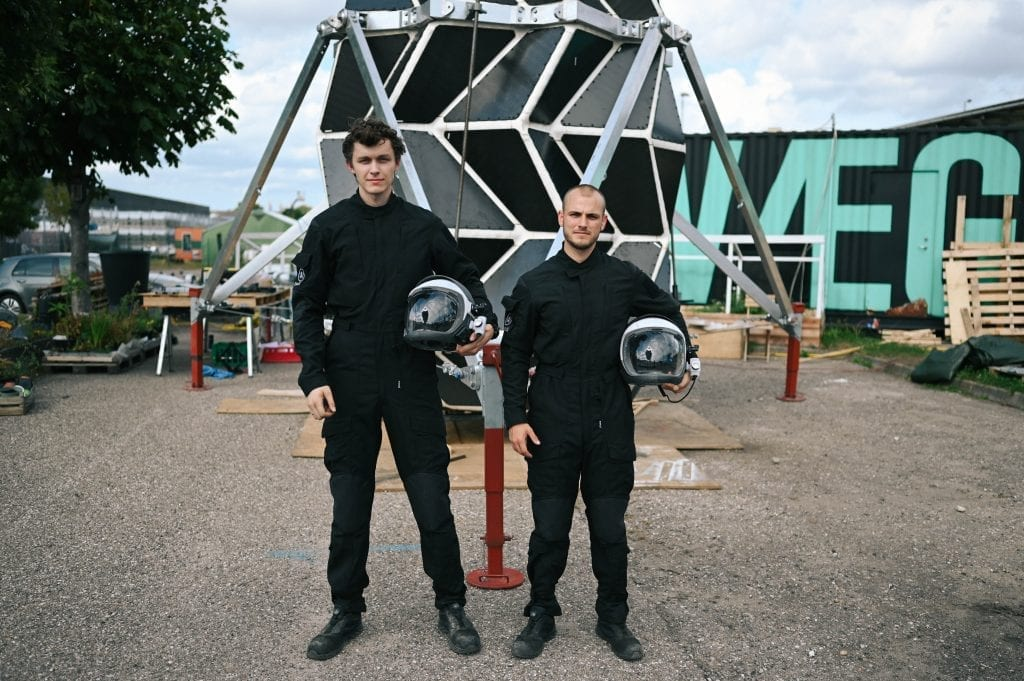 Sebastian and Karl in front of the assembled module before folding it down for transit to Greenland