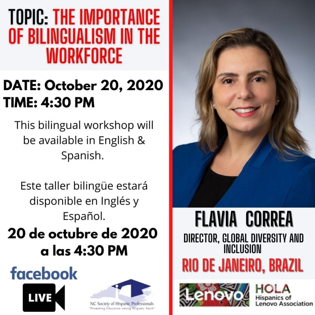 """Flyer for """"The importance of bilingualism in the workforce"""" with speaker Flavia Correa"""