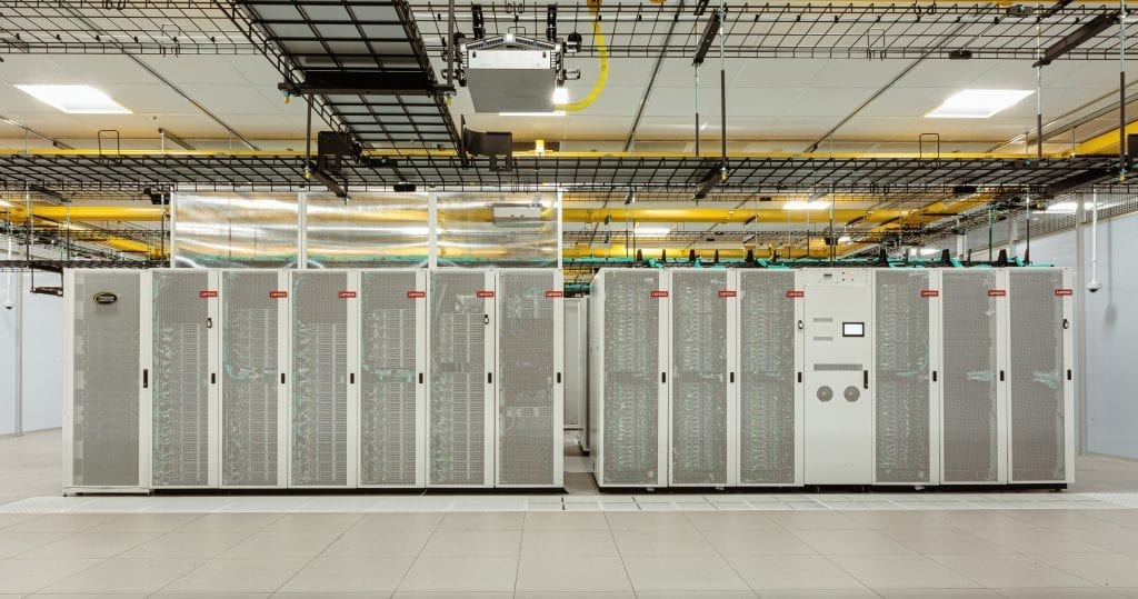Wide view of NYU's Greene Supercomputer racks, one of the top 10 most powerful supercomputers in higher education.