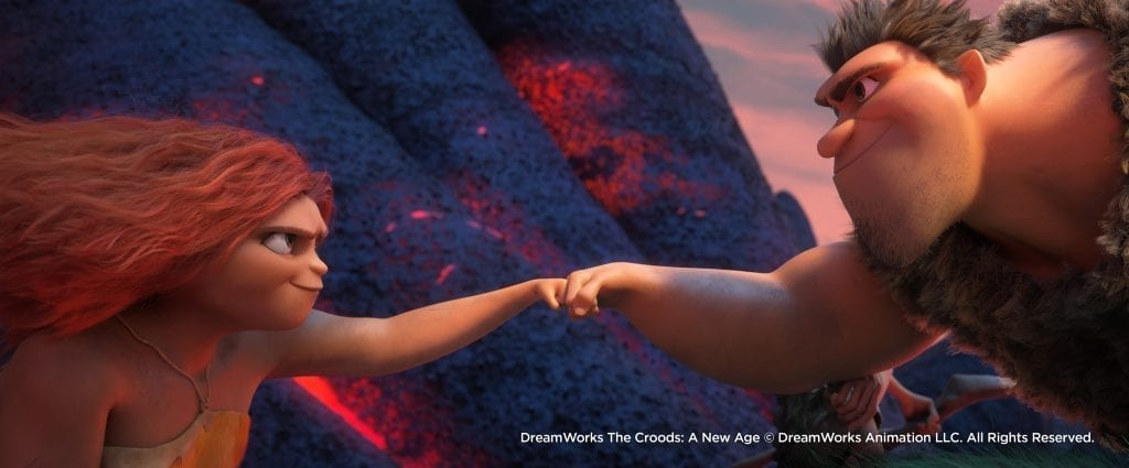 """(from left) Thunk Crood (Clark Duke), Sandy Crood (Kailey Crawford) and Gran (Cloris Leachman) in DreamWorks Animation's """"The Croods: A New Age,"""" directed by Joel Crawford."""