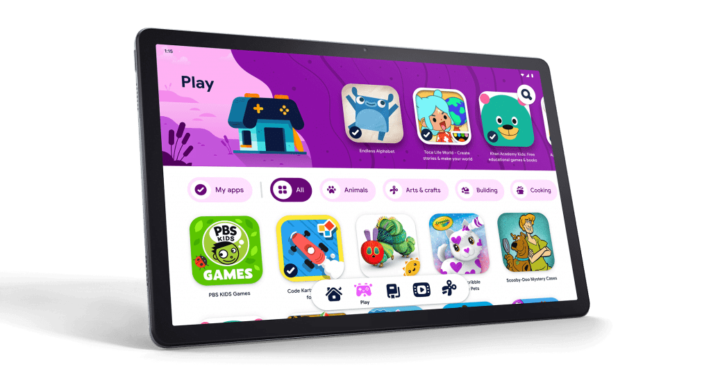 Lenovo Tab P11 also comes with Kids Space from Google,20 a new kids mode that features apps, books, and videos