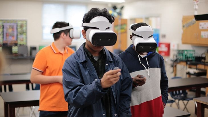Students with Lenovo Mirage™ Solo VR headsets