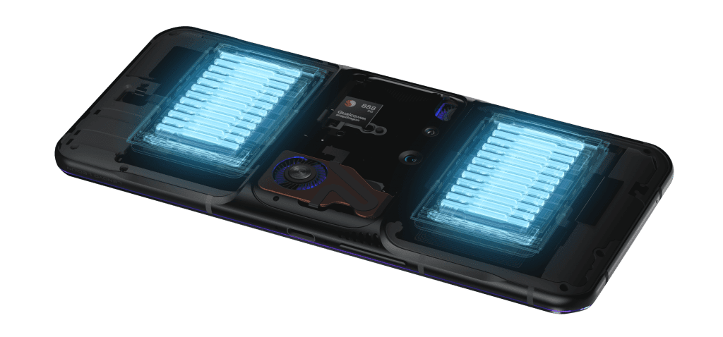 Lenovo Legion Phone Duel 2 with batteries exposed -- Dual batteries combine to provide 5500mAh of total power for extended gameplay.