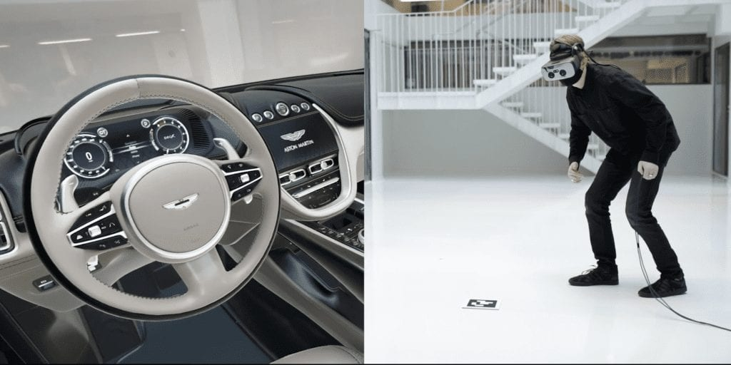 Split image with (left) the steering wheel and dash of an Aston Martin vehicle and (right) a person wearing a Varjo headset in an empty room.