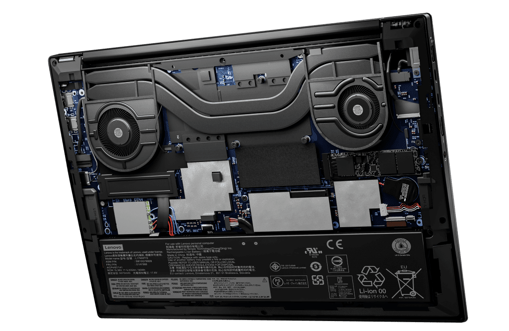 ThinkPad X1 Extreme Gen 4 with exposed internals