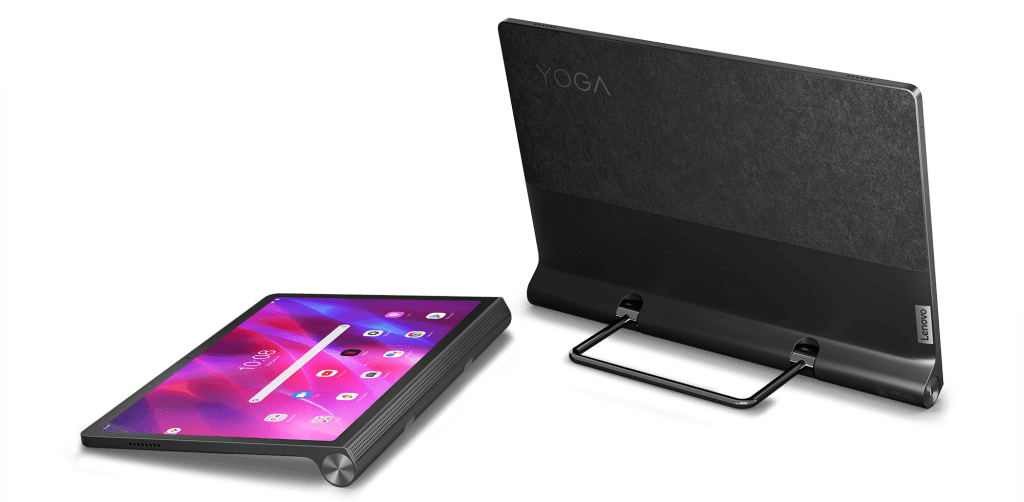 Pictured (left to right): The Yoga Tab 11 laying flat beside the Yoga Tab 13 on its kickstand