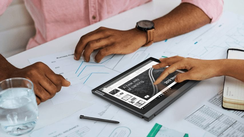 Lenovo ThinkBook Plus Gen 2i laptop with an innovative e-Ink cover display