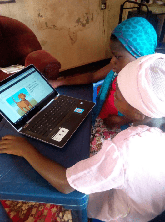 African Storybook Maker students working together on a computer