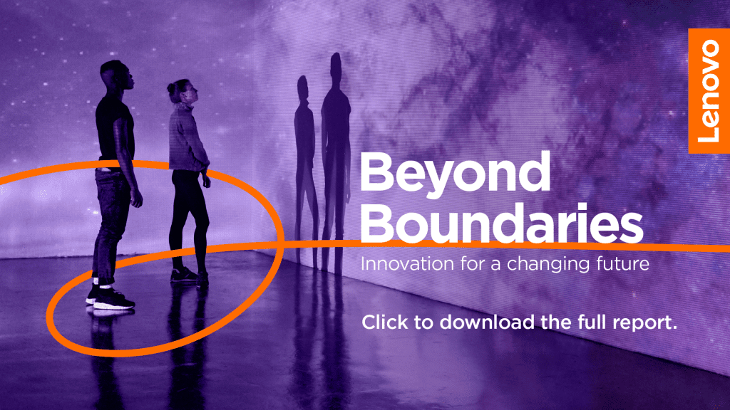 Lenovo Beyond Boundaries image - orange ribbon moving between two people looking at a wall covered in projected nebulae. TEXT: Click to download the full report.