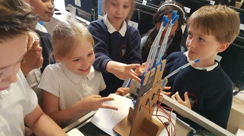 Creative Computing Club students building an electronic project