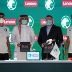 Lenovo and SAFF signing the agreement for Lenovo to be the national team technology sponsor