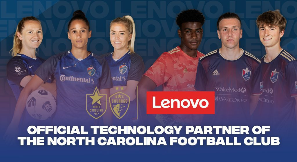 NCFC players with text on graphic: Official technology partner of the north carolina football club