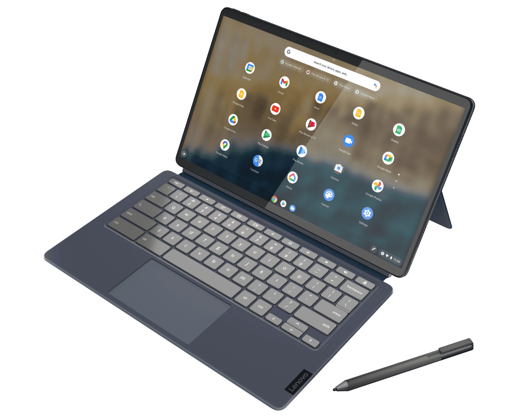 """The IdeaPad Duet 5 Chromebook (13"""", 6) shown in Abyss Blue in productivity mode"""