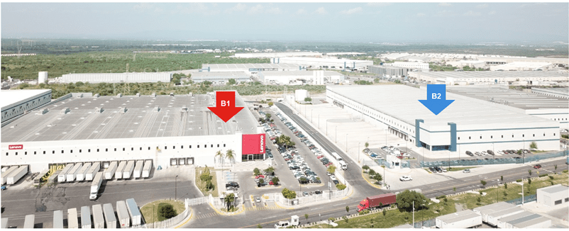 Aerial photo of the two main buildings at the Monterrey facility.