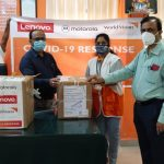 Boxes delivered from Lenovo and World Vision India in response to COVID-19.